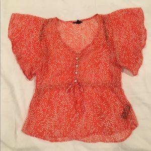 Forever 21 sheer orange blouse polka dots size S